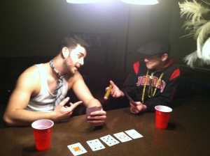 Nobody enjoys a game of Texas Holdem more than Nicky Boom. Here he is enjoying a nice hand with a friend.
